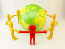 People near the earth. Show idea of ecology, connection, peace Stock Photos