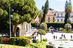 People near entrance in Bellini Garden in Catania Royalty Free Stock Photography