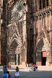 People near entrance to Strasbourg Cathedral Royalty Free Stock Image