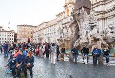 People near Fontana dei Quattro Fiumi in Rome Stock Photography