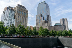 People near Freedom Tower and 9/11 Memorial Stock Photography