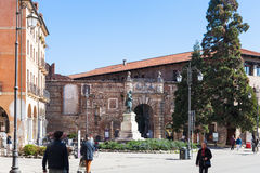 People near gate to Teatro Olimpico in Vicenza. VICENZA, ITALY - MARCH 28, 2017: people near gate to Teatro Olimpico on Corso Andrea Palladio in Vicenza in Royalty Free Stock Photography