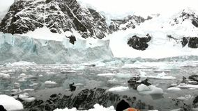 People near ice floe and iceberg in ocean of Antarctica. Glacier on background of snow.Travel in Polar North. Scenic blue water. Unique nature of desert stock footage