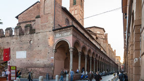 People near medieval urban wall in Bologna Royalty Free Stock Photo