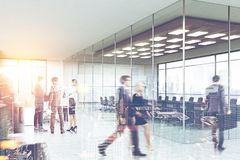 People near a meeting room, office lobby side view Stock Photography