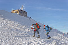 People near Meteorological station in Kasprowy Wierch in Zakopan Royalty Free Stock Photo