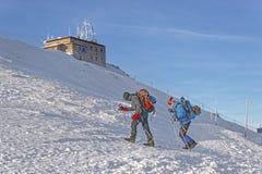 People near Meteorological station in Kasprowy Wierch in Zakopan Stock Image