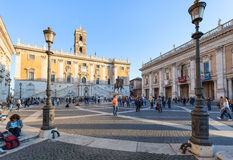 People near museum on Piazza del Campidoglio Royalty Free Stock Image