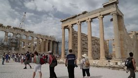 People near Parthenon - ancient temple in Athenian Acropolis, Greece Royalty Free Stock Photos