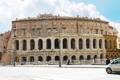 People near the picturesque ancient building in Rome, Italy Royalty Free Stock Photo