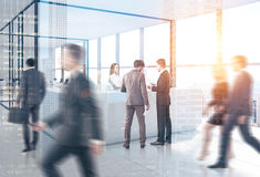 People near reception, open office, skyscraper Royalty Free Stock Photo