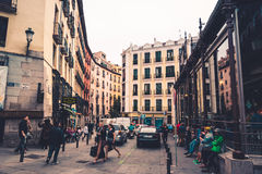 People near San Miguel market, Madrid Stock Image