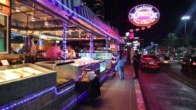 People near seafood restaurant in Pattaya, Thailand stock footage