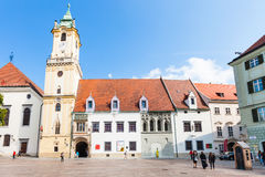 People near Town Hall at Main Square in Bratislava Stock Images