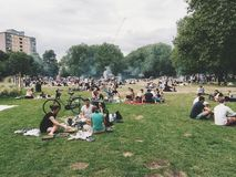 People Near Trees Under Cloudy Sky during Daytime Royalty Free Stock Images
