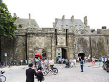 People near urban gate of Saint-Malo city, France Royalty Free Stock Images