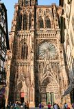 People near west facade of Strasbourg Cathedral Royalty Free Stock Photos
