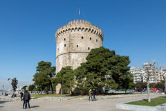 People near White Tower  in Thessaloniki. Greece Royalty Free Stock Photography