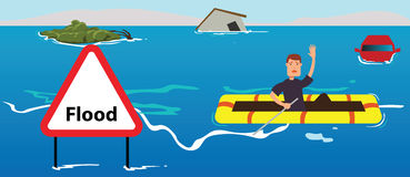 People need help of flood disaster. Concept illustration Royalty Free Stock Photo