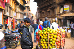 People in Nepal selling a fruits Royalty Free Stock Images