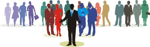 People Network 1. People in three line silhouette, color isolated vector Stock Photography