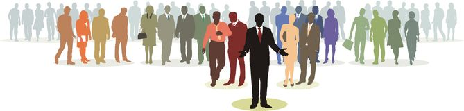 People Network 2. People in four line silhouette, color isolated vector Royalty Free Stock Photo