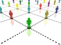 People network. Social network of different people represented in different colors stock illustration