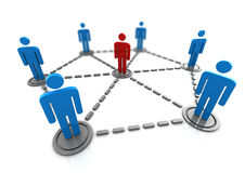 People network. 3d illustration of people network with leader Stock Photography