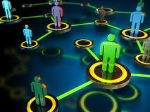 People network. Digital network connecting many different people. Digital illustration