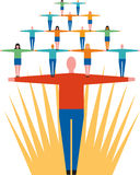 People network. Group of figures linked in the form of a pyramid on top of a large figure with sunburst in background Royalty Free Stock Photography