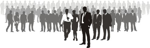 People with network boss on front Royalty Free Stock Image