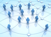 People network connections 3d illustration. People network connections 3d blue coloured illustration Royalty Free Stock Photo