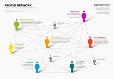 People network 3d chart. Minimalist vector people network 3d diagram template Stock Images