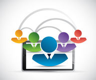 People network link tablet illustration Stock Images