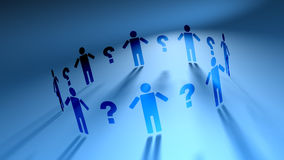 People Network & Question Marks (HD Loop). People holding out hands between dolalr signs on blue background. People rotate in 3D space. Seamless loop. See stock footage