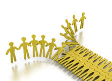 People networking as zipper. People networking in orderly way as zipper for strength and teamwork on a white background Stock Images