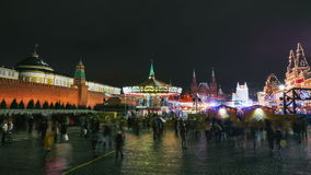 People on New Year holidays on Red Square decorated and arranged for New Year and Christmas Stock Images