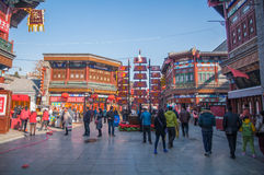 People in new year's market. There are many various rallies be held when new year coming in china. This is a scene of trade market in the New Year's Day of Royalty Free Stock Image