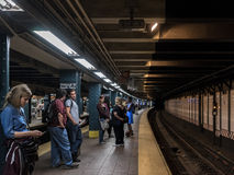 People in the New York City subway Royalty Free Stock Photos