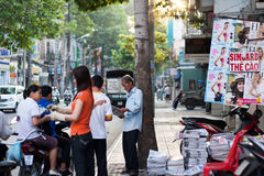 People at newspaper store. In Sai Gon, Viet nam on April 12, 2013 stock photo