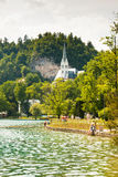People next to lake Bled in Slovenia Stock Photography