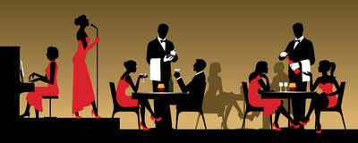 People in night club or restaurant sitting at a table Stock vect Stock Photo