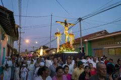 People at night in a procession in the streets of the city of Leon in Nicaragua during the Easter celebrations Stock Images