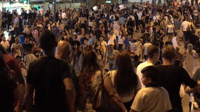 People on the night street stock video