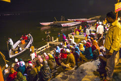 People in the night in Varanasi Stock Photo