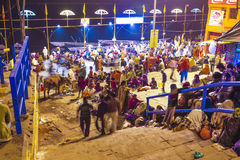People in the night in Varanasi Stock Image