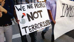 We Are People Not Terrorists Rally Sign stock video