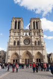 People at Notre Dame, Famous Catholic Church, Tourism Landmark in Paris France Royalty Free Stock Photos