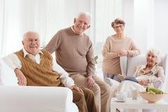 People in nursing home. Happy elderly group of people in nursing home stock photos