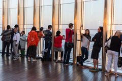 People at the observation deck of Burj al Khalifa Stock Photos